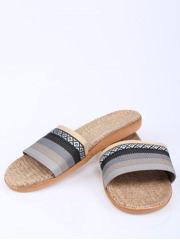 Buy Striped Ombre House Slippers - SIZE(44-45) GRAY Mobile