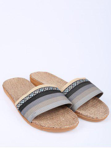 Buy Striped Ombre House Slippers - SIZE(42-43) GRAY Mobile