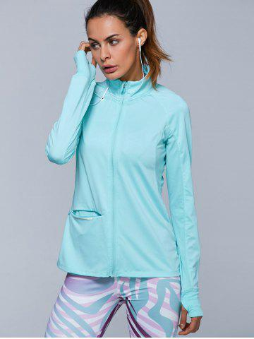 Outfits Zip High Neck Running Jacket - S AZURE Mobile