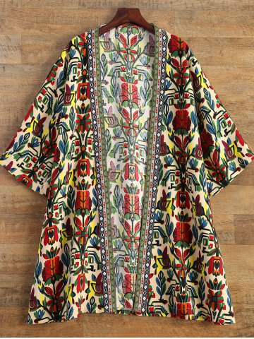 Buy Embroidered Printed Duster Coat - M MULTICOLOR Mobile