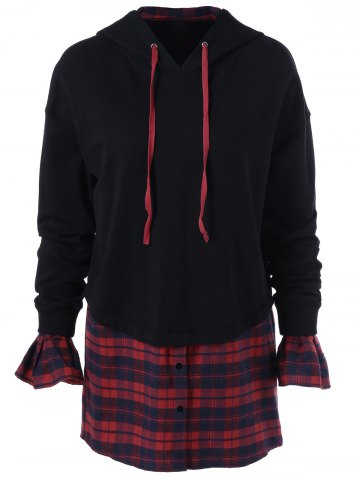 Buy Plaid Insert Bell Sleeves Hoodie - M BLACK AND RED Mobile