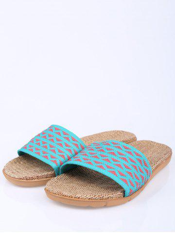 Discount Linen Geometric Pattern House Slippers - SIZE(37-38) LAKE BLUE Mobile
