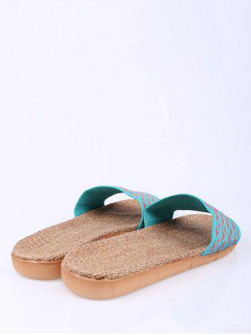 Discount Linen Geometric Pattern House Slippers - LAKE BLUE SIZE(39-40) Mobile