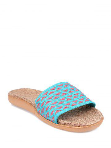 Online Linen Geometric Pattern House Slippers - LAKE BLUE SIZE(39-40) Mobile