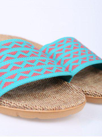 New Linen Geometric Pattern House Slippers - LAKE BLUE SIZE(39-40) Mobile