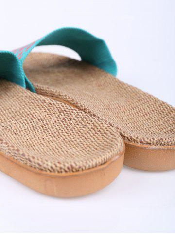 Trendy Linen Geometric Pattern House Slippers - LAKE BLUE SIZE(39-40) Mobile