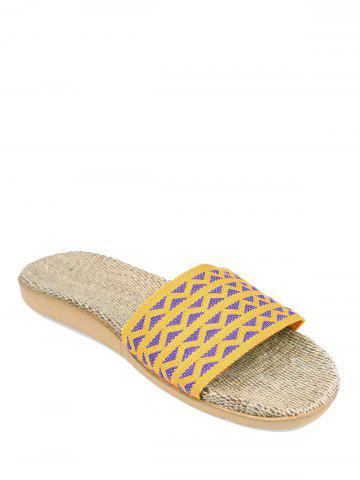 Discount Linen Geometric Pattern House Slippers