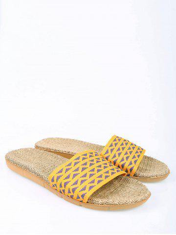New Linen Geometric Pattern House Slippers - YELLOW SIZE(39-40) Mobile