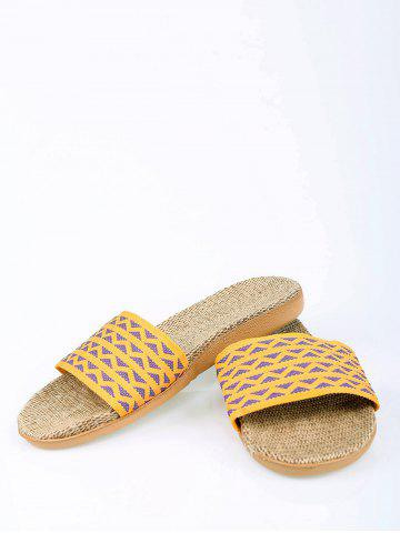 Trendy Linen Geometric Pattern House Slippers - YELLOW SIZE(39-40) Mobile