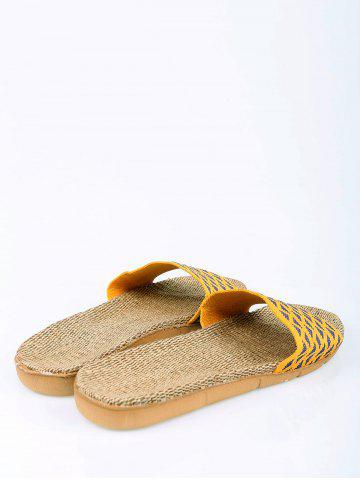 Cheap Linen Geometric Pattern House Slippers - YELLOW SIZE(39-40) Mobile