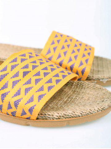 Outfit Linen Geometric Pattern House Slippers - YELLOW SIZE(39-40) Mobile