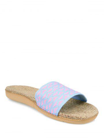 Trendy Linen Geometric Pattern House Slippers - LIGHT PURPLE SIZE(39-40) Mobile