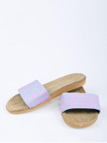 Outfit Linen Geometric Pattern House Slippers - LIGHT PURPLE SIZE(39-40) Mobile