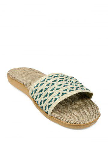 Fashion Geometric Pattern Linen House Slippers - SIZE(42-43) ARMY GREEN Mobile