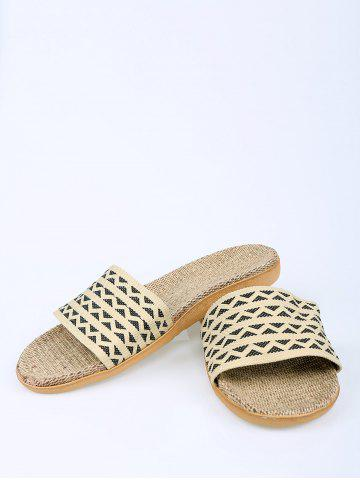 Discount Geometric Pattern Linen House Slippers - SIZE(42-43) DARK COFFEE Mobile