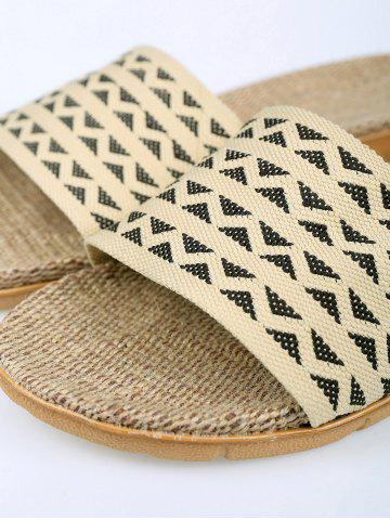 Unique Geometric Pattern Linen House Slippers - SIZE(42-43) DARK COFFEE Mobile