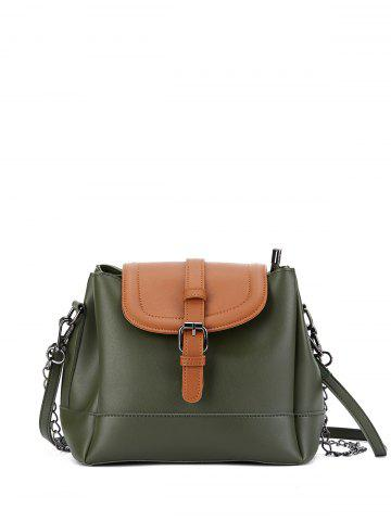 Chains Buckle Strap Color Block Bucket Bag - Army Green