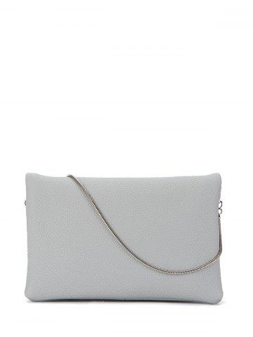 Buy Snake Chain Fuax Leather Crossbody Bag - Gray