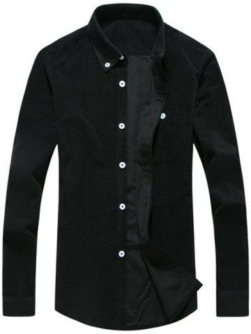 Trendy Chest Pocket Corduroy Button Down Shirt - BLACK 3XL Mobile