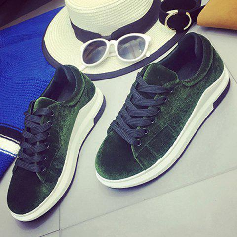 Outfits Platform Velour Sneakers - 37 BLACKISH GREEN Mobile
