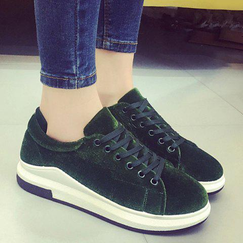 Platform Velour Sneakers - Blackish Green - 37