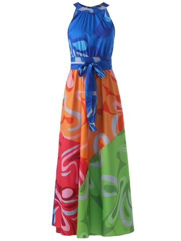 Trendy Sleeveless Colorful Maxi Dress COLORMIX S