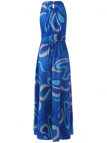 Chic Sleeveless Colorful Maxi Dress - L COLORMIX Mobile