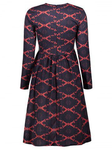 Trendy Argyle Fit and Flare Dress - XL RED Mobile