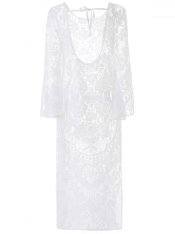 Affordable Flare Long Sleeve Backless Beach Maxi Lace Dress - L WHITE Mobile