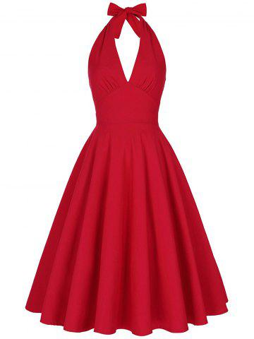 Trendy Halter Low Back Plunge Work Christmas Party Dress RED M