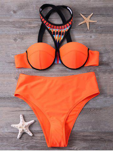 Push Up Print Panel Crosscriss Bikini Set - Jacinth - S