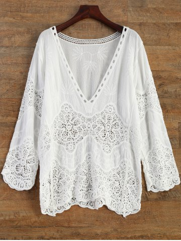 Crochet Panel Beach Cover-Up - White - One Size