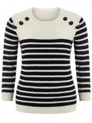 Plus Size Long Sleeve Striped Sweater - PALOMINO 5XL