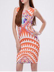 Cut Out Print Bodycon Dress