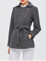Notched Collar Zip Up Belted Coat -