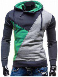 Side Zip Up Contrast Color Pullover Hoodie