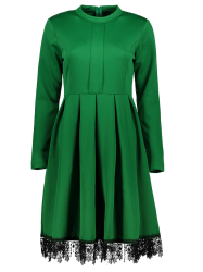 Stand Collar Long Sleeves Lacework Dress - GREEN