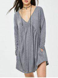 Casual Ruched Cut Out Mini Dress - GRAY