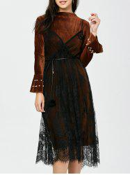 Belted Beaded Velvet Dress with Lace Cami Dress