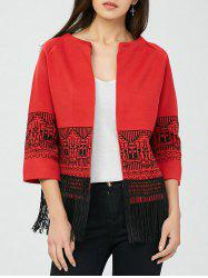 Open Front Graphic Fringe Cardigan