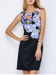 Floral and Butterfly Pattern Sleeveless Pencil Dress
