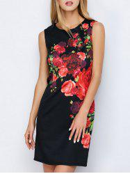 Peony Print Concealed Rear Zip Dress