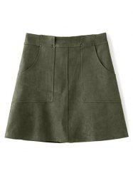 Front Pockets Suede A Line Skirt -