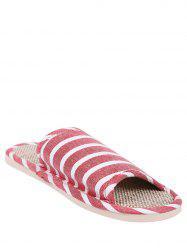 Cotton Fabric Striped House Slippers - CLARET