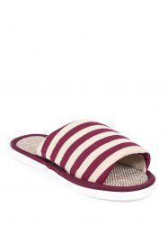 Open Toe Linen Stripes Indoor Slippers