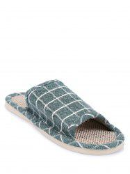 Color Block Plaid Indoor Slippers - GREEN