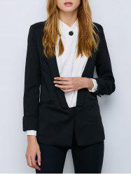 Shawl Collar Cuffed One Button Blazer -