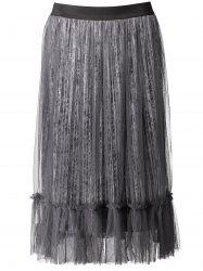 Tulle Panel Pleated Velvet Skirt