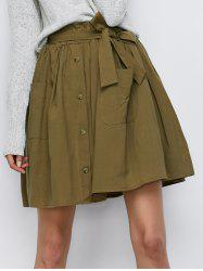 Button Up Belted Mini Skirt With Pockets - ARMY GREEN ONE SIZE
