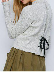Crew Neck Heathered Lace-Up Sweater